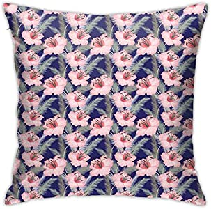 DHNKW Throw Pillow Case Cushion Cover,Blooming Flowers Composition Pink Toned Lilies Ornamental Spring Flourish Pattern ,18x18 Inches