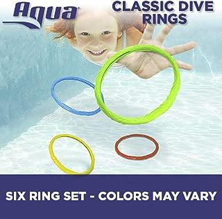 Aqua Classic Dive Rings, 6 Pack, Pool Toys for Kids, Toddlers, Teens, Pool Game, EZ Grab Large Diameter Swim Diving Rings