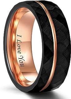 خاتم رجالي من Frank S.Burton مصنوع من التنجستين الأسود مقاس 6 مم 8 مم من الذهب الوردي الرقيق مزود بخاتم زفاف مريح بمقاس 5-14