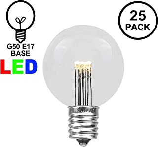 Novelty Lights 25 Pack LED G50 Outdoor Patio Globe Replacement Bulbs, Warm White, E17/C9 Base, 1 Watt