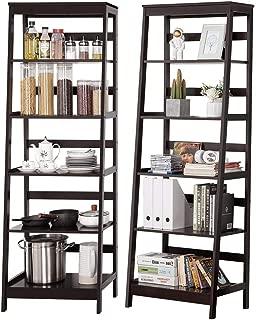Topeakmart Set of 2 5-Tier Bookshelf Free Standing Ladder Shelf with Strong Frame, Espresso (2)