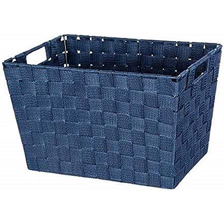 WENKO Panier de rangement Adria M bleu foncé - Panier de salle de bain, Polypropylène, 35 x 22 x 22.5 cm, Bleu foncé