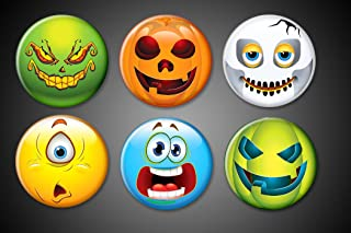 Halloween Fridge Magnets Emoji Faces Monsters Pumpkins Cyclopse scared faces holiday magnets for boards and festivities set 1