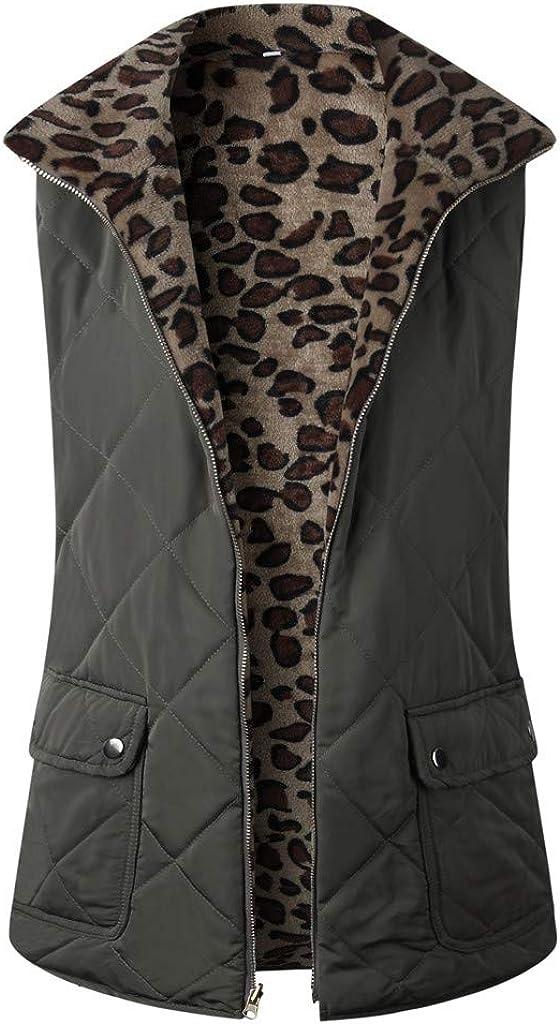 TRENDINAO Winter Padded Vest Jacket for Women Sleeveless Wear On Both Sides Fleece Leopard Gilet Waistcoat