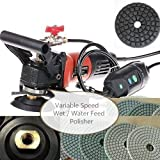 4' to 5' Wet (water feed) Polisher grinder diamond polishing 42 Pad 3 Glaze Buffer 12 Extra carbon brush granite marble stone concrete travertine glass floor wall tile countertop smoothing