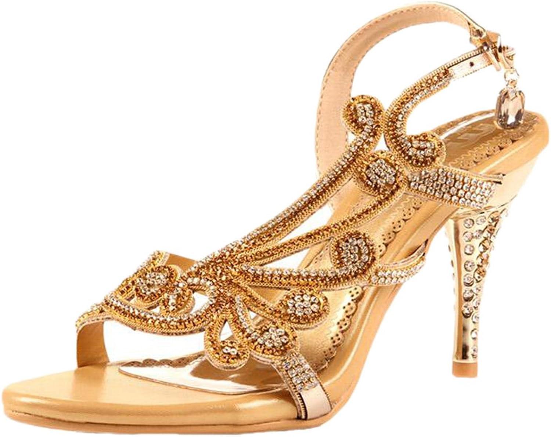 Littleboutique Crystal Studs Sandal Heels Summer shoes Evening Sandals Wedding Dress Strappy shoes