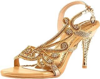 Littleboutique Women Crystal Sandal Heels Summer Shoes Evening Sandals Wedding Dress Strappy Shoes