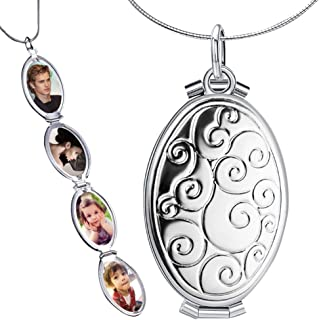 Expanding Photo Locket Necklace Pendant 4 Pictures Chain Necklaces Memorial Gifts for Women Girls