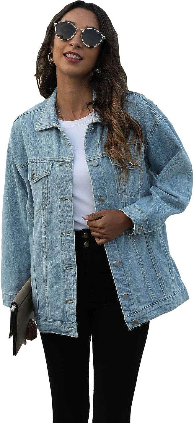 PUWEI Women's Casual Boyfriend Oversized Lapel Button Up Long Sleeve Denim Trucker Jacket with