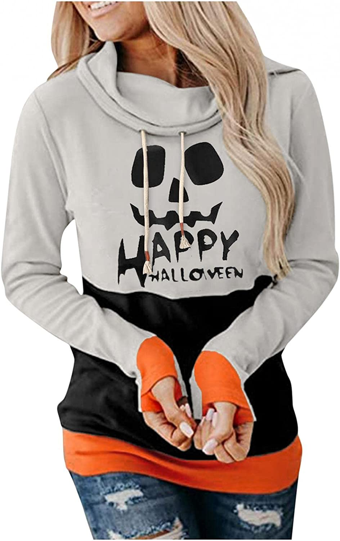 AIHOU Halloween Sweatshirts for Women Loose Drawstring Pullover Comfy Hoodies Funny Pumpkin Colorblock Long Sleeve Tops