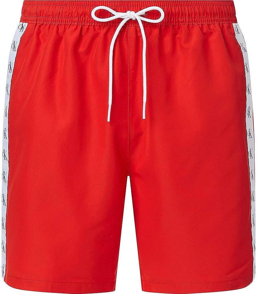 Calvin klein medium drawstring, costume a pantaloncino per uomo,100% poliestere riciclato KM0KM00574