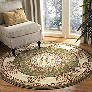 Safavieh Lyndhurst Collection LNH328B Traditional European Medallion Non-Shedding Stain Resistant Living Room Bedroom Area Rug, 8′ x 8′ Round, Sage / Ivory