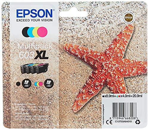 Epson Stella Marina Serie 603, Cartucce per Stampante Getto d'Inchiostro, Multipack 4 Colori, Nero, Ciano, Magenta, Giallo, Formato XL Stampe Affidabili Basso Costo fino 150 Pagine