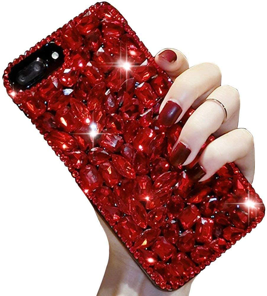 Aearl for Samsung Galaxy Note 8 Cute Sparkle Jewels Case, TPU Soft Luxury 3D Handmade Stunning Stones Crystal Rhinestone Bling Full Diamond Glitter Shinning Cover with Screen Protector - Red