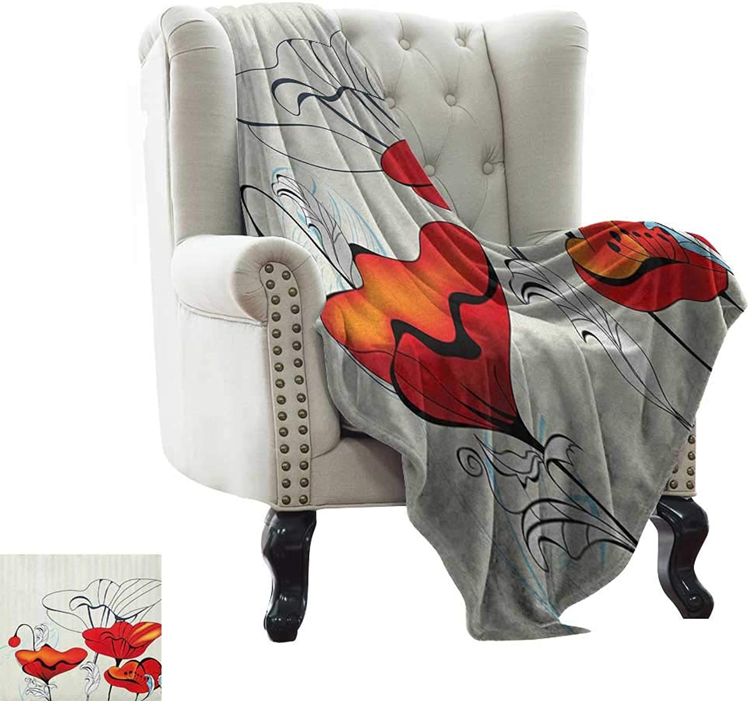 Weighted Blanket for Kids Poppy,Artistic Florets and Buds with Curly Leaves and Red Petals in Vintage Style, Red Pale bluee Beige colorful Home Couch Outdoor Travel Use Blanket 50 x60
