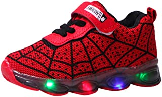 Kids LED Light Up Shoes Candy Color Lightweight Breathable Easy Walk Knit Sneakers 1-6Y Comfort Flashing Sneakers as Gift Red