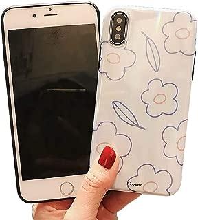 BONTOUJOUR iPhone XS Max Phone Case, Beautiful Art Polka Dot Flower Little Heart Pattern Serie Cover Case Soft TPU 360 Degree Good Protection- Flower-White