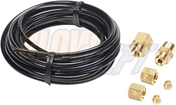 GlowShift Replacement 9ft Black Nylon Mechanical Boost Gauge Hose Kit with 1/8-27 NPT Compression Fittings