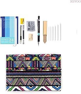 GWTRY Professionnel 28/38PCS Sketch Crayon Ensemble Sketching Charcoal Drawing Kit Sacs à Crayons en Bois pour Peintre Sch...