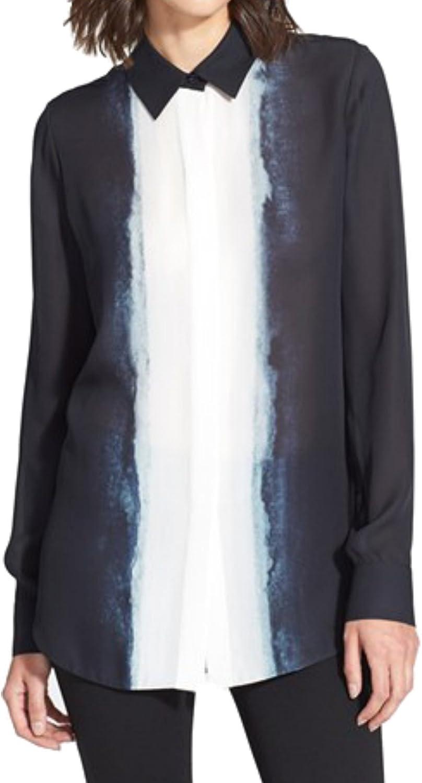 Vince Women's Button Down Shirt Dip Dye Silk Long Blouse Coastal Navy Blue