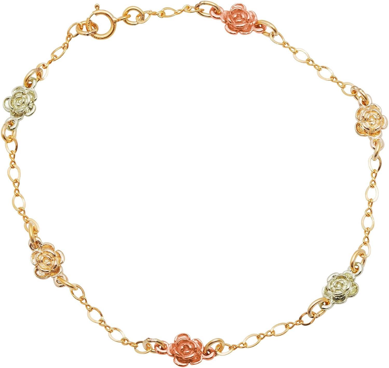 Petite Rose Chain Bracelet, 10k Yellow Gold, 12k Green and Rose Gold Black Hills Gold Motif