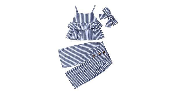 Mubineo Little Toddler Girl Basic Stripe Wide Leg Pants Set Romper Jumpsuit Outfit Clothes