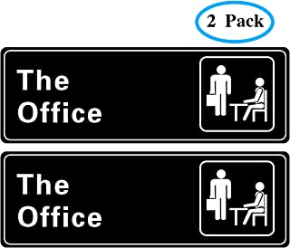 The Office Sign Self-Adhesive Sign 9 X 3 Inch Door or Wall Sign Name Plate Acrylic 2 Pack (Black and White)