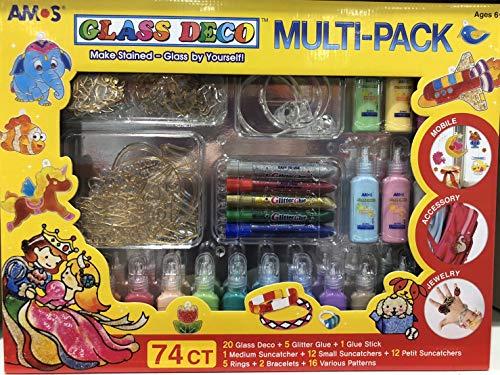 AMOS GLASS DECORATION 74CT ガラスデコ 24色+のり サンキャッチャー/アクセサリー/イラスト付