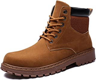 Sunny&Baby Men's Ankle Boots Casual High Top Rounded Top Comfortable Work Shoes Durable (Color : Brown, Size : 8.5 UK)