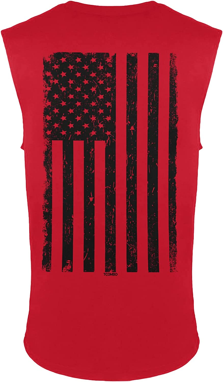 Distressed Black Mail order USA Flag - United Sleeveless Men's Portland Mall States Shirt