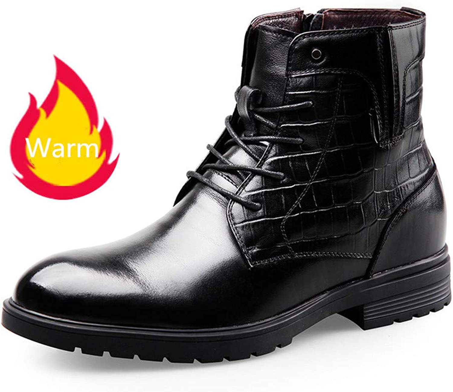 GOG Winter Short Plush Warm Martin Boots Height Increasing 6.5 cm Elevator Boot for Men Black