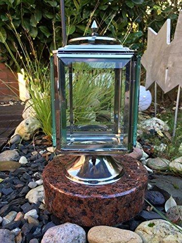 Grablaterne aus Edelstahl mit Sockel Vanga Rund Edelstahllampe Leuchte aus Edelstahl Grablicht Grablaterne Grablampe aus Edelstahl