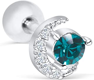 ONDAISY 14K Gold Plated Simulated Diamond Cz Half Crescent Sailor Luna Moon Ear Barbell Ball Stud Earring Piercing