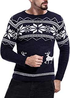 iZHH Mens Autumn Tops Christmas Sweater Jumper Knitted Blouse Tee Slim Fit Tee
