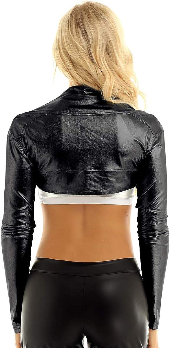 iiniim Women's Long Sleeve Bolero Shrugs Shiny Metallic Open Front Cardigan Crop Tops