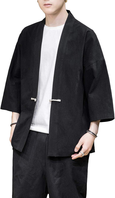 PRIJOUHE Men's Kimono Jackets Cardigan Casual Cotton Blends Linen Seven Sleeve Open Front Embroidery Coat