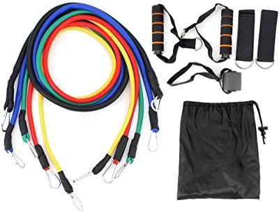 MoYouno Set of 11 Resistance Band Kit, 150 lbs Stackable Exercise Bands with Handles Door Anchor Legs Ankle Straps Fitness Bands for Workout Training Physical Therapy