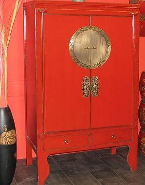 OPIUM OUTLET Armoire de mariage chinoise orientale haute, armoire de chambre à coucher, armoire rouge vintage shabby chic en