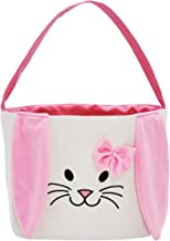 Easter Bunny Baskets Easter Bag Bucket for Easter Egg Hunt Stuffers with Fluffy Ears for Kids (Pink)
