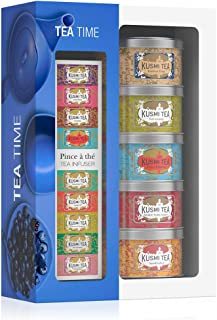 Kusmi Tea - Afternoon Tea Gift Set with Infuser Spoon - Ideal Gift for Tea Lovers - Assortment of 5 Exclusive Loose-Leaf Tea Blends Including AquaExotica, & Kasmir Tchai in Eco-Friendly Metal Tins