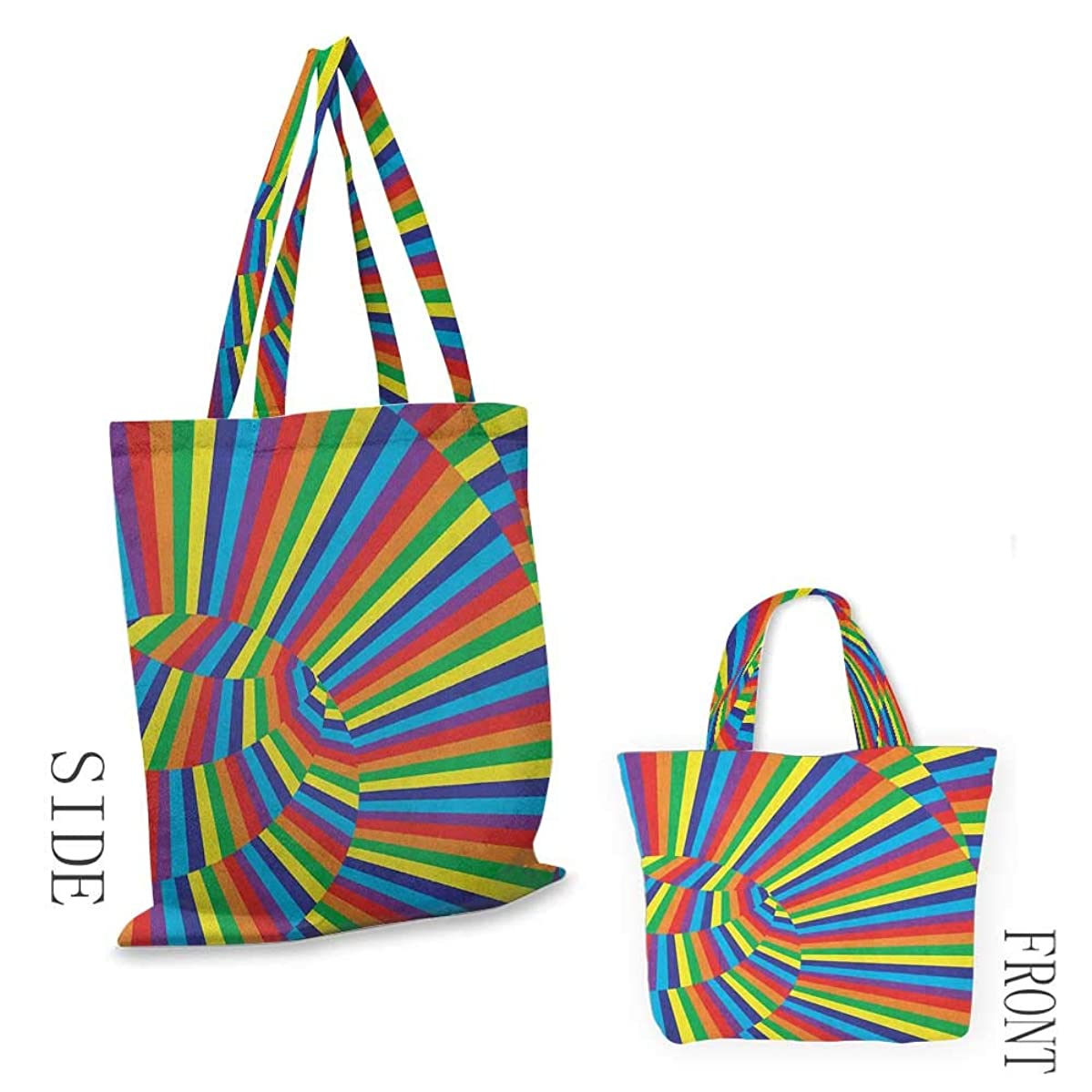"""folding shopping bag SpiresRainbow Colored Odd Geometric Circle Figures with Contrast Optic Artwork Design Multicolor18""""W x 16""""H"""
