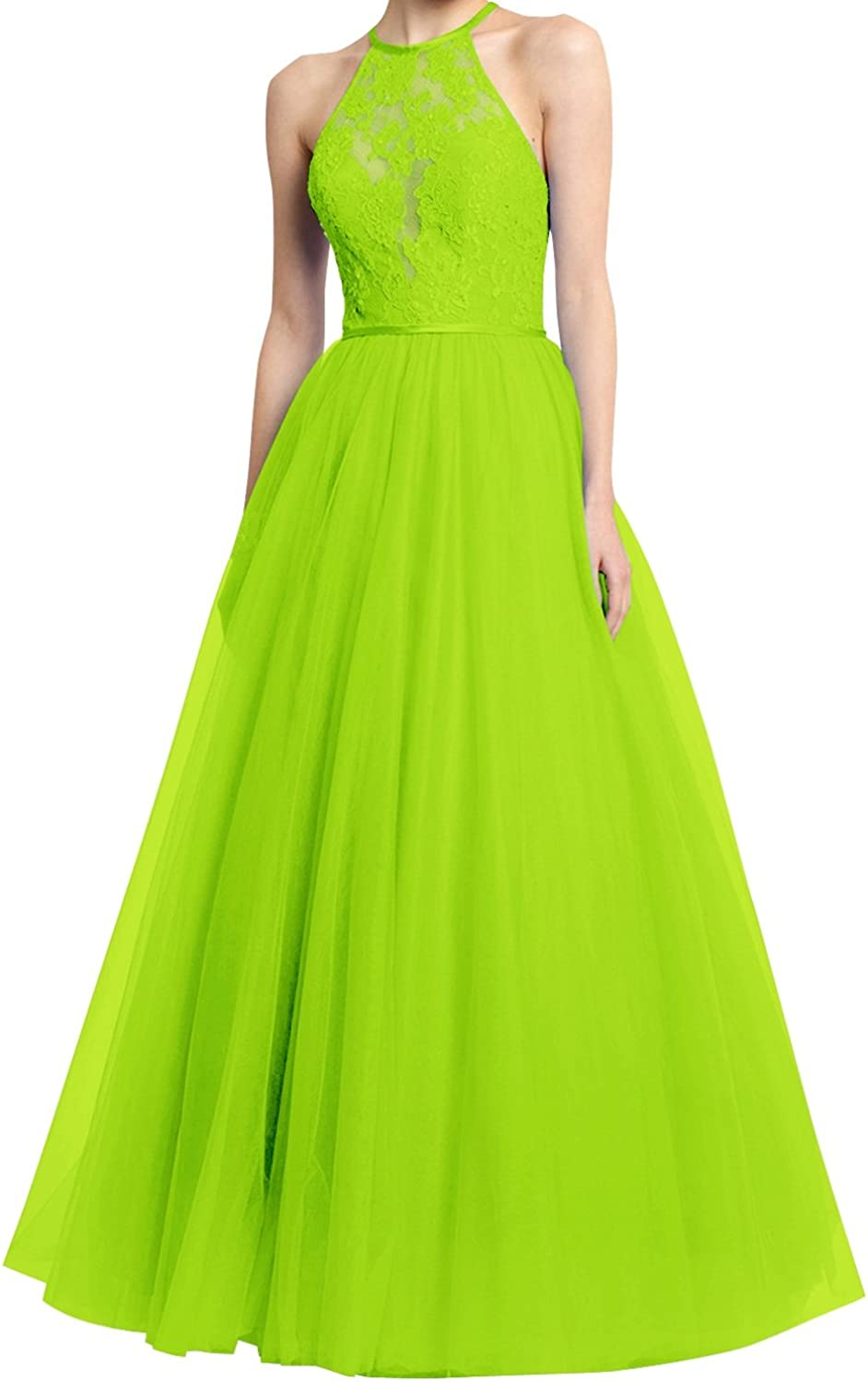 JudyBridal Women Halter Lace Prom Gowns Tulle Aline Long Evening Dress