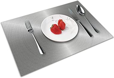Gray Metal Stainless Steel Glare Placemats Set of 4 for Dining Table Washable Woven Vinyl Placemat Non-Slip Heat Resistant Kitchen Table Mats Easy to Clean