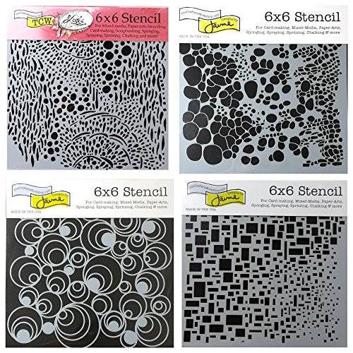 4 Crafters Workshop Mixed Media Stencils Set   for Arts, Card Making, Journaling, Scrapbooking   6 inch x 6 inch Templates   Cell Theory, Mod Spirals, Cubist, Sea Bubbles