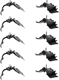XONOR Set of 10 Halloween Décor Realistic Looking Spooky Hanging Bats for Best Halloween Party Favors and Decoration