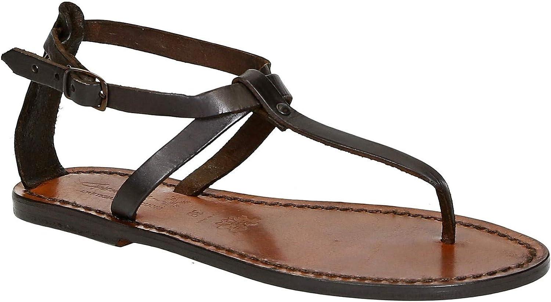 人気急上昇 Womens Thong Sandals in Dark Brown Handmade Italy Leather 全品最安値に挑戦