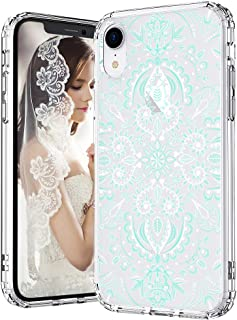 MOSNOVO iPhone XR Case, Clear iPhone XR Case, Aqua White Mandala Pattern Clear Design Transparent Plastic Hard Back Case with Soft TPU Bumper Protective Case Cover for Apple iPhone XR