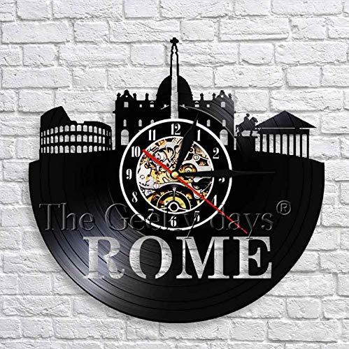 XZXMINGY 12' Rome City Handmade Vinyl Schallplattenuhr mit BlackBedroom Wanddekoration Schwarz Runde Hängende Kunstuhr Antike Wohnkultur