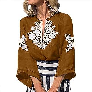 〓COOlCCI〓Women's Tops, Tees & Blouses,Women Summer Casual V-Neck Half Sleeve Boho National StyleTop Blouse T Shirt