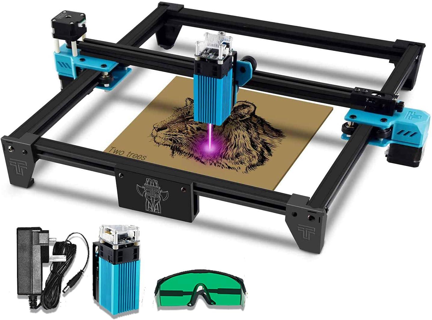 TotemS Máquina grabadora láser 40W Grabado CNC 300 x 300 mm Protección ocular con gafas protectoras para madera Metal Plástico Bambú Cuero